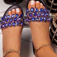 Kristal Siyah Pembe Boyutu 35-43 Bayan Sandalet Ayakkabı Kadınlar Için 2021 Sandalilas Sandles Kadın Ayakkabı Terlik İlkbahar Yaz Sonbahar