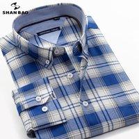 남자 캐주얼 셔츠 샨 바오 가을 고전적인 브랜드 100 % 코 튼 격자 무늬 셔츠 비즈니스 플러스 크기 느슨한 긴 소매 허가 세일