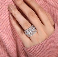 2021 New Arrival Rose Gold Color 4 Pieces Stacked Stack Wedding Engagement Ring Sets For Women Fashion Band R5899 A0611