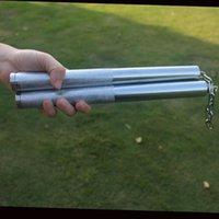 Bacchette in acciaio inox di alta qualità in acciaio inox Due bastoni Nunchakus grande attrezzature fitness argento squisitamente progettato durevole