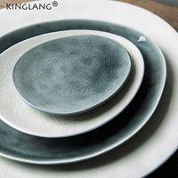 Platos platos kinglang nórdico creativo hielo reflejo agrietado glaseado ensalada ensalada de postre japonés plato plato plato de cerámica