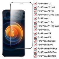 Pour iPhone XR XS Protecteur d'écran en verre trempé max 11 pro maximum pour iPhone 6 7 8 plus écran Clear Clear Proy Protection pour iPhone 12 Pro Max