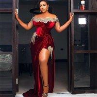 South African Mermaid Evening Dresses Plus Size Lace Beading Velour Prom Dress Side Split Sexy Gowns vestido de novia