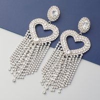 DHL ship Super flashing claw chain series love heart-shaped alloy diamond long tassel earrings women European and American exaggerated dinner catwalk