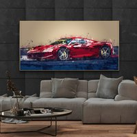 Red Sports Car Posters and Prints Abstract Painting on Canvas Graffiti Street Art Wall Art Pictures for Living Room Home Decor