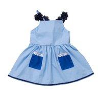 2021 летнее платье с кружевами плиссированные девушки подвеска принцессы платья без рукавов джинсовые голубые юбки дизайнеры повседневные одежды HH230W96