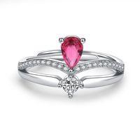 Kvinnor Diamant Crown Ring Silver Justerbara Ringar Engagemang Bröllop Ringar För Kvinnor Mode Smycken