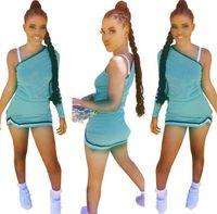 Frauen sexy zweiteilige Kleider aus Schulter T-shirt + Minirröcke lässig solide Farbe Röcke passen Sommerkleidung plus Größe Sportswear 4499