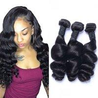 Estensione dei capelli 100% Capelli umani Indiani Bandetti a onda allentati per le donne nere 3 4 pezzi Colore naturale