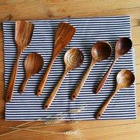 1 ADET Ev Boyasız Acacia Ahşap Mutfak Araçları Uzun Kolları Ile Benzersiz Masif Ahşap Pişirme Araçları Çorba Kaşık Restoran için