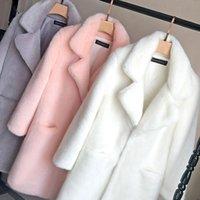 Women's Fur & Faux 2021 Fashion Women Mink Coat Solid Female Turn Down Collar Winter Warm Fake Lady Casual Jacket
