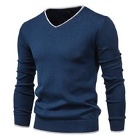 Men's Sweaters Men Autumn Sweater V-neck Pullovers Fashion 100% Cotton Solid Color Long Sleeve Slim Navy Knitwear