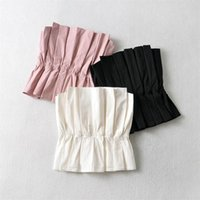 Women's Blouses & Shirts TRAF Women 2021 Fashion Sexy Off Shoulder Solid Color Elastic Pleat Short Blouse Strapless Crop Summer Tops Streetw