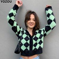 Malhas das mulheres Tees Yozou outono de malha argyel v-pescoço verde azul preto único breasted botões Cardigans suéter para mulheres mulheres YL-445