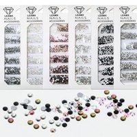 Nail Art Décorations Sac à fond plat Perceuse à fond plat AB Diamond Strass Gold Or Argent Black Symphonymélays Taille Diansnail Accessoires