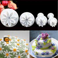 케이크 도구 4pc / 세트 꽃 모양 설탕 컷 공예 금형 수국 퐁당 장식 플런저 커터 데이지 장식