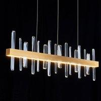 Chandeliers Modern Luxury K9 Crystal Chandelier Lighting LED Dining Room Island Hanging Lights Kitchen Decor Fixtures Golden Pendant Lamps