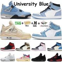 حذاء رياضي نسائي من Nike Air Jordan Retro 1 4 للرجال Jorden 1s 4s Hyper Royal Dark Mocha حذاء كرة السلة باللون الأزرق جامب مان حذاء رياضي نسائي