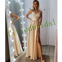 2021 Blush Pink Long bridesmaid Dresses High Side Split Spaghetti A-Line lace Chiffon Guest Dress Prom Party Gowns
