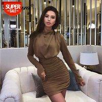 Luxus Frauen gefaltete Minikleid Bodycon Eleganter Rollkragenpaket Hüfte Sexy Büro Ol New Herbst Winter Kleidung Party Abendessen # WB2G