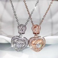 Pendant Necklaces Luxury Rose Gold Silver Plated Crown Heart For Women Shine CZ Stone Inlay Fashion Jewelry Wedding Party Gift