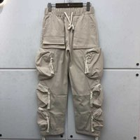 Travis Scott autumn summer Multi Pocket high street functional overalls men's casual nylon pants women's fashion pants