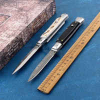 9 인치 다마스커스 경적 블레이드 마피아 접는 나이프 더블 액션 440 스테인레스 스틸 블레이드 캠핑 사냥 EDC 도구