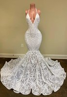 Sexy White Mermaid Evening Dresses Deep V Neck Halter Full Lace Beads Prom Dress Sleeveless Open Back Formal Party Second Reception Gowns Robe de mariée
