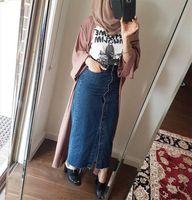 Müslüman Denim Rahat Ayak Bileği Uzunluk Kadın Etek Kot Mavi Uzun İslam Giyim Hindi Dubai Mütevazı