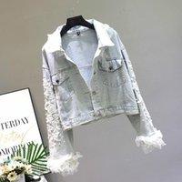 Kadın Ceketler Açık Mavi Denim Ceket Kadınlar İlkbahar Sonbahar 2021 Moda Dantel Dikiş Çiçek Nakış Gevşek Kısa Ceket Kızlar Lady