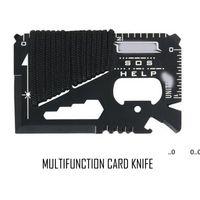كل يوم تحمل 14 وظيفة في 1 الفولاذ المقاوم للصدأ متعددة الوظائف بطاقة سكين العسكرية التخييم حبل أداة أداة RRF11178