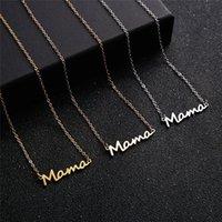 Muttertag Mama Brief Anhänger Halskette Für Frauen 18 Karat vergoldet Edelstahl Mom Namensschild Klicks Kette Choker Schmuck Geschenk