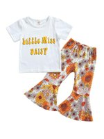 Clothing Sets Girls Casual Two-piece Clothes Set, White Round Collar T-shirt And Floral Printed Pattern Flared Pants