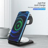 Kablosuz Şarjlar 15 W Hızlı 4 in 1 Kablosuz Şarj Standı Iphone 12 Için Standı 12pro IWatch SE 5 için Forsamsung Kablosuz Şarj Tutucu