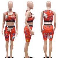 Frauen Damen Marken Badeanzug 2 Stück Bademode Obst Cartoon Outfits Ernte Tank Weste und Biker Shorts Trainingsanzug Yoga Gym Sweat Anzug H318XUL