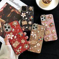 For iPhone 11 12 PRO XR XS MAX 8 7 6S Plus Luxury Designer Women Cases Glitter Love Wallet Rhinestone Defender Phone Case