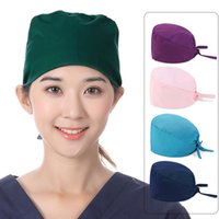Unisex Sof Solid Color Scrub Nurse Hat Regolabile Bellezza Salone Cura Cap Laboratorio Negozio Medico Doctor Caps