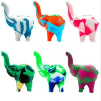 Multi Color Silicone Smoking Pipes with Glass Bowl Elephant Shape Smoke Tobacco Pipe Holder Straw