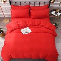 Conjuntos de cama de algodão carta impressa folha plana decorno capa fronha estilo europeu estilo sólido cor sólido tamanho quenn