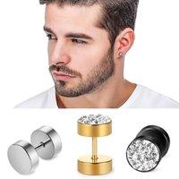 Prendedor de aço inoxidável Mens Brincos Preto / Ouro / Cor de Prata para Meninos Checa Cristais Ear Plug Studs Piercing Jóias