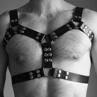 Bras Sets Adjustable Men Sexy Leather Set Vest Flirting Body Bondage PU Harness Cosplay Rivet Belts Bdsm Lingerie Belt