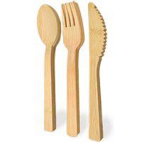 Conjunto de utensílios de mesa de bambu 13.5cm natural talheres de barbilhão de bambu faca colher colher de acampamento ao ar livre Set Kitchen ZC090