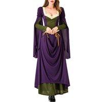 캐주얼 드레스 고딕 포리스트 나무 엘프 요정 드레스 할로윈 여성 유럽 중세 법원 멋진 뱀파이어 코스프레 의상 길이 # 01