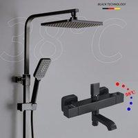 Chuveiro de casa de banho Conjuntos MyQualife Termostatic Preto Chuar Faucet Set Misturador Multifuncional Fácil de Instalar