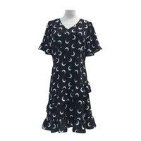 Günlük Elbiseler Belki U Ay Baskı Elbise Kadın V Boyun Şifon Kısa Kollu Mini Siyah Beyaz D1264