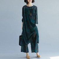 Two Piece Dress Large Size Women Chiffon Tops And Pants Suit Fashion Retro Print Long Shirt Wide Leg Casual Set Outfit F2811