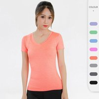 Yoga Outfit Women T-Shirt V-Neck Tight-Fitting Short-Sleeved Fitness Running Sports Top Quick-Drying Breathable Seamless Soft Gym Clothes
