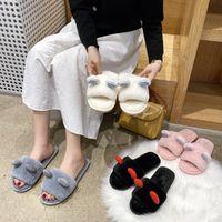 Scarpe Ladies Pantofole da donna poco profondi scivoli di lusso Slidels Slidels Donne Flip Flip Flop Flock Soft Girl Designer 2020 Flat Peluche Massage T64K #