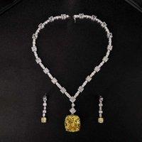 HBP Forme el collar de plata esterlina de lujo de diamante amarillo de imitación de la moda de Hbp, cadena de clavícula y colgante de gama alta en plat