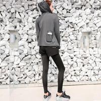 Vestido de dos piezas de bolsillo trasero corriendo ropa de culturismo profesional absorbente de humedad y sudor de sudor